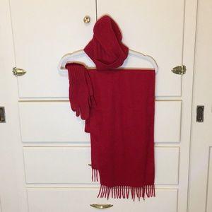 100% cashmere scarf, gloves, hat set - NWT